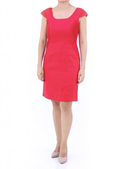 Pleated 100% Red Linen Short Dress DRESSES