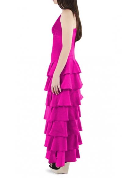 Flounce 100% Fuchsia Linen Formal Dress DRESSES