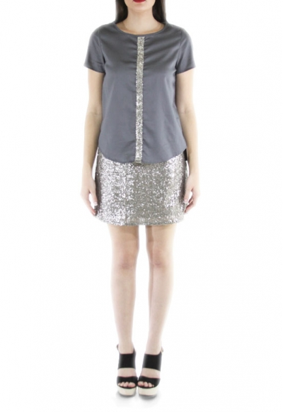 Sequined Egyptian Cotton Silver Top TOPS