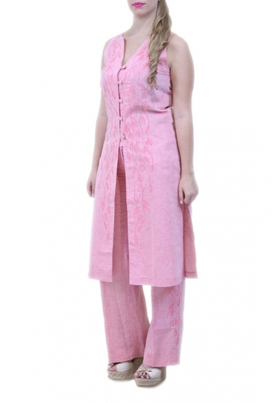 Embroidered 100% Pink Linen Tunic DRESSES