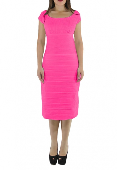 Pleated Fuchsia Linen Midi Cocktail Dress DRESSES