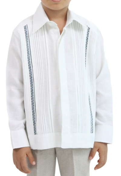 Kids Linen Guayabera with Handmade Embroidery GUAYABERAS