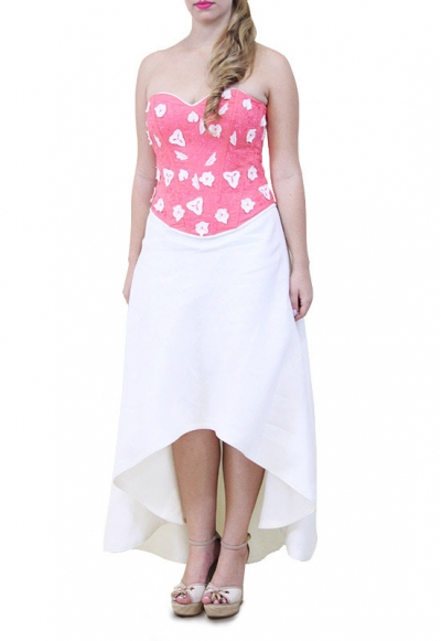 High-Low Hand Made Embroidered Linen Dress DRESSES