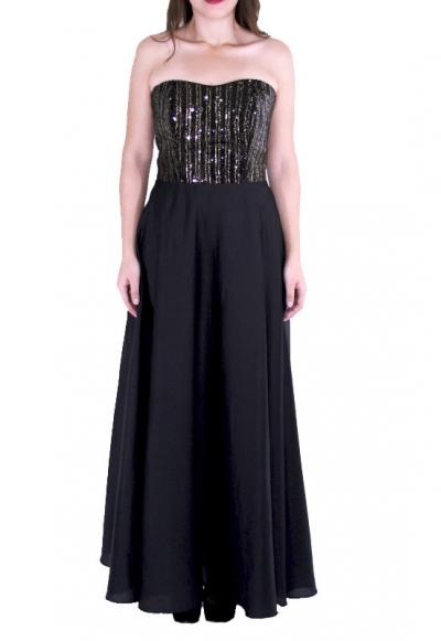 Sequined Black Egyptian Cotton Maxi Dress DRESSES