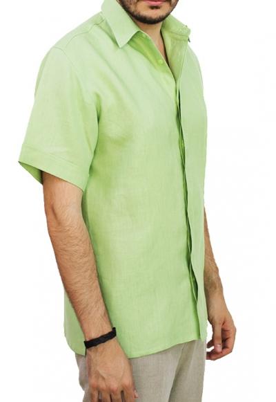 Pleated Green Linen Short Sleeve Shirt SHIRTS