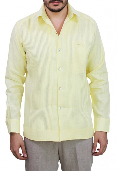 Classic Style Presidential Yellow Linen Guayabera GUAYABERAS