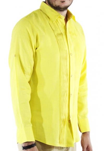 Camisa de Lino 100% Corte Slim Con Alforzas Color Amarillo CAMISAS