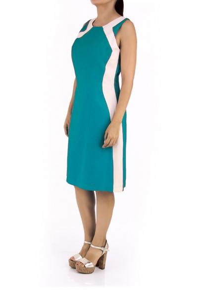 Vestido de Lino Color Verde Esmeralda con Franjas Color Arena VESTIDOS