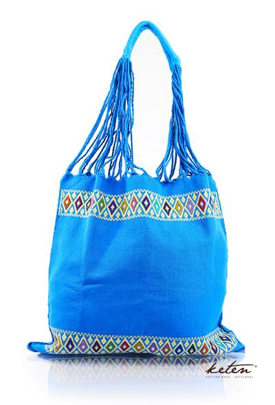 Bolsa de Telar Color Azul Con Bordado Hecho a Mano BOLSAS & CARTERAS