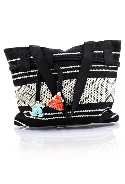 Artisan Made Black & White Waist Loom Handbag BAGS & POUCHES
