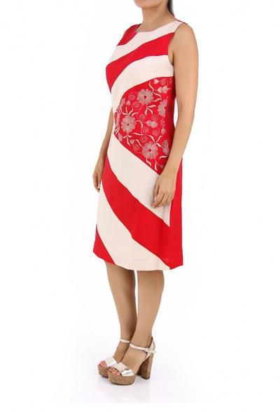 Beautiful Flower Embroidery Linen Dress DRESSES