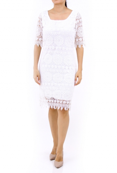 Vestido con Encaje color Blanco VESTIDOS