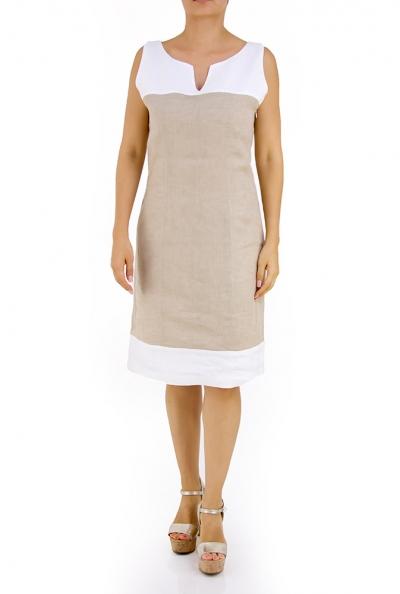 100% Linen Khaki Dress With Details DRESSES