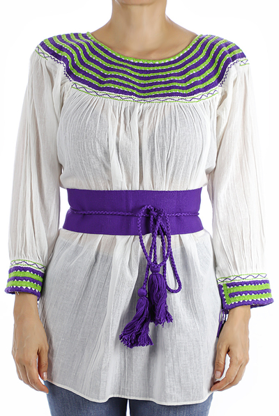 White Cotton Handmade Embroidered Blouse With Hand Embroidery TOPS