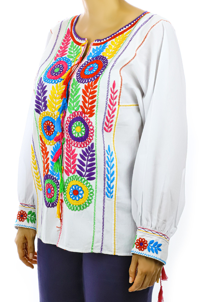 White Cotton Hand Embroidered Blouse TOPS