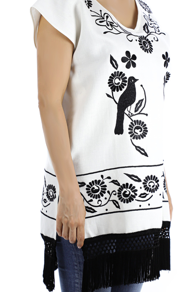 Mexican Traditional Embroidery Hand Made Linen Blouse TOPS