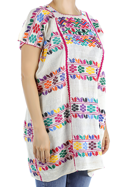 Traditional Extra Fine Mexican Blouse With White Huipil Waist Loom WOMEN