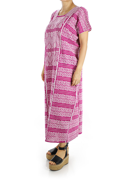 Traditional High Quality Pink Color Handmade Waist Loom Mexican Dress WOMEN