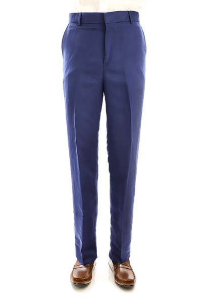 Tailored Fit Royal Blue Natural Linen Trouser for Men TROUSERS