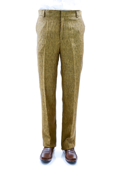 Tailored Fit Brown Natural Linen Trouser for Men TROUSERS