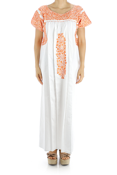 San Antonino White Color Handmade Embroidered Cotton Dress WOMEN