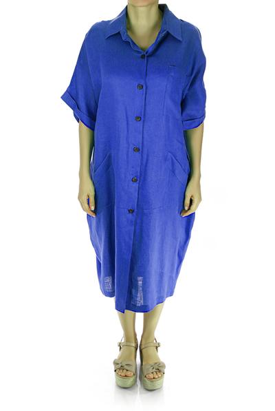 Classic Royal Blue Linen Dress Shirt from Keten DRESSES