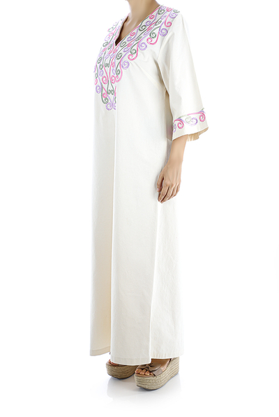 Ivory Color Handmade Embroidered Cotton Dress WOMEN