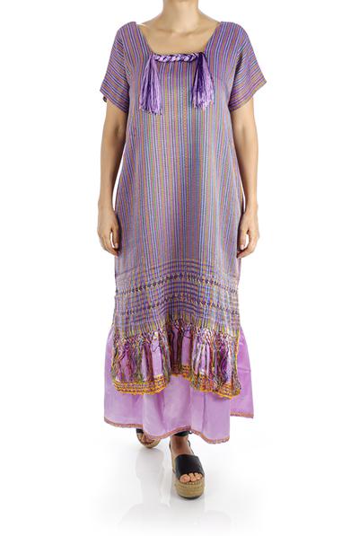 Traditional Mexican Handmade Purple Rebozo Dress WOMEN