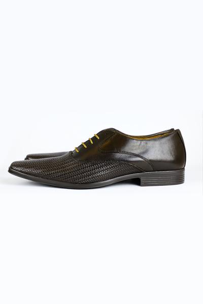 Black Faux Leather Shoes For Men SHOES FOR MEN