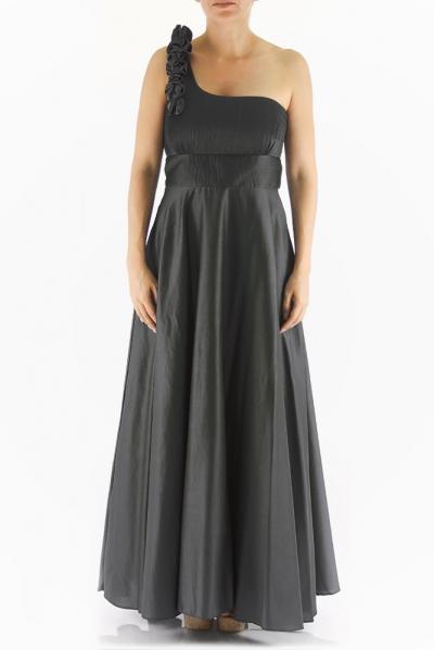 One-Shoulder Black Egyptian Cotton Cocktail Dress DRESSES