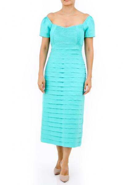 Vestido Largo de Lino Color Aqua Con Alforzas VESTIDOS