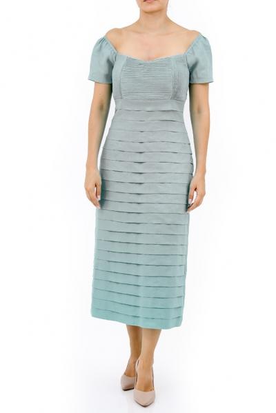 Vestido Largo de Lino Color Gris Plata Con Alforzas VESTIDOS