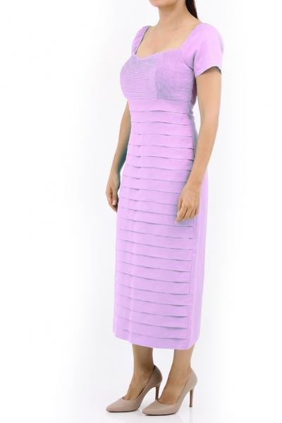 Vestido Largo de Lino Color Rosa Con Alforzas VESTIDOS