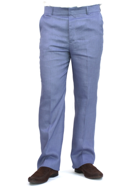 Regular Fit Blue Linen Pants TROUSERS