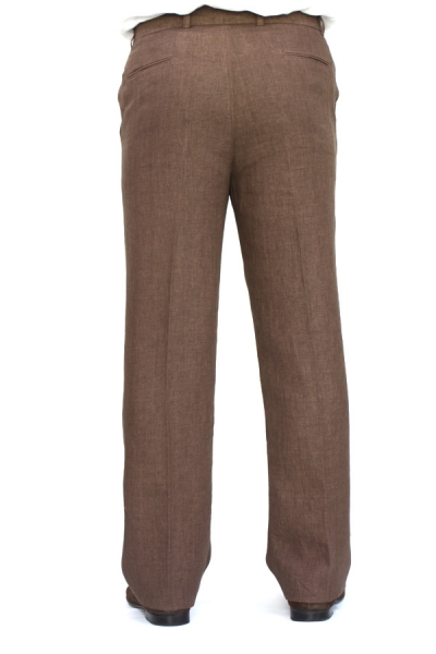 Regular Fit Brown Linen Pants TROUSERS