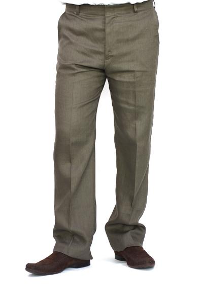 Pantalón de Lino Color Verde Pardo PANTALONES