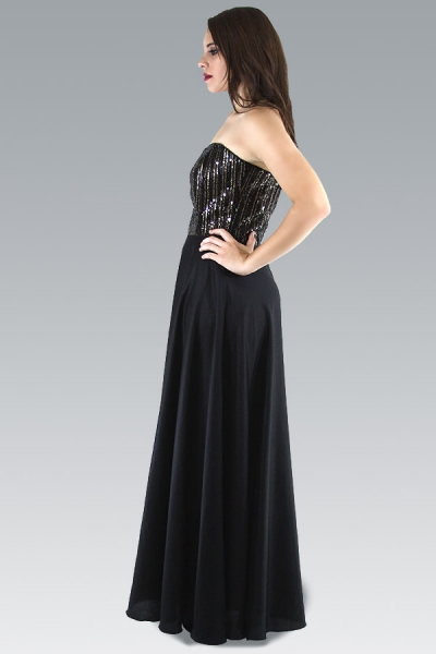 Vestido de Noche Algodon Egipcio con Lentejuelas Color Negro VESTIDOS