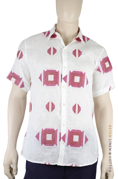100% White Linen Shirt Embroidered and Short Sleeve SHIRTS