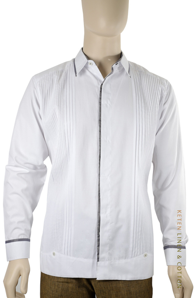 Exclusive White Cotton Guayabera Combined Gray Color GUAYABERAS