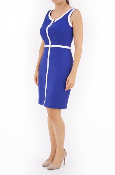Vestido de Lino Corto en Color Azul Rey VESTIDOS
