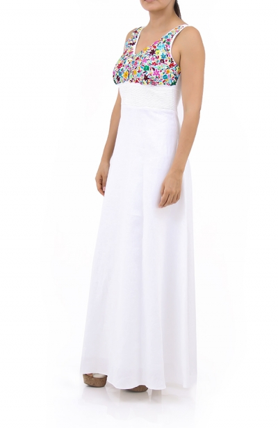 Beautiful Mexican Hand Embroidery Pure Linen Dress DRESSES