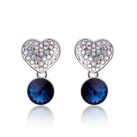 Swarovski Heart Earrings in Blue JEWELRY