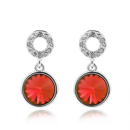 Aretes de Cristal Swarovski Color Rojo JOYERIA