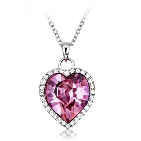 Cute Pink Heart Necklace JEWELRY