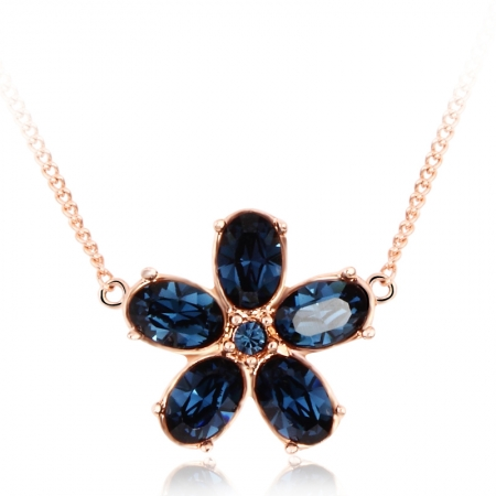 Blue Swarovski Flower Necklace JEWELRY