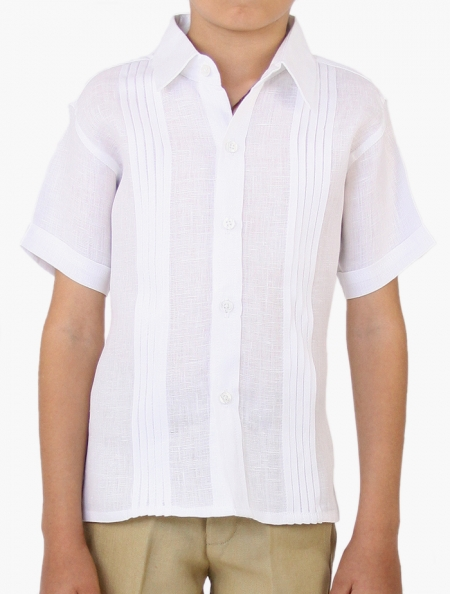 100% Linen White Short-Sleeved Shirt (Kids) SHIRTS