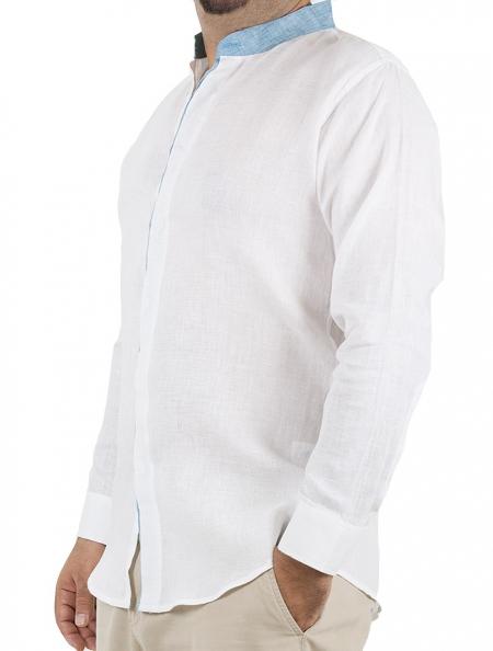 Camisa de Lino Color Blanco Cuello Mao Azul CAMISAS