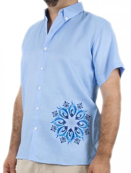 Camisa De Lino Color Azul Cielo Con Bordado y Alforzas CAMISAS