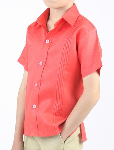 Kids Coral Shirt 100% Linen SHIRTS