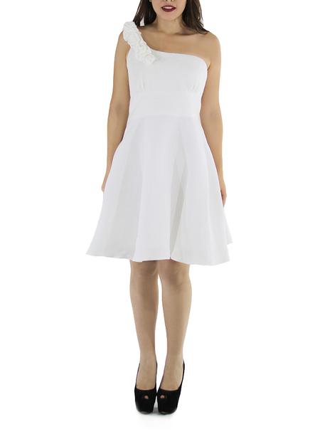 Vestido Corto de Lino 100% Un Hombro Color Blanco VESTIDOS